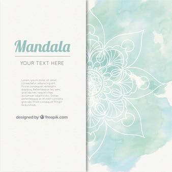Akwarela mandala tło w odcieniach zieleni