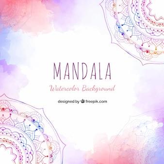 Akwarela mandali tło z pięknym stylu
