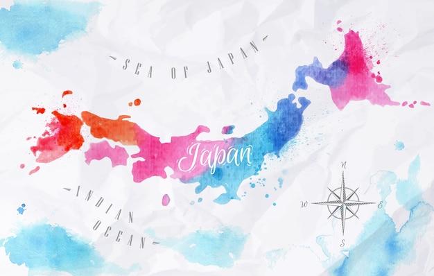 Akwarela mapa japonii