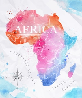 Akwarela mapę afryki