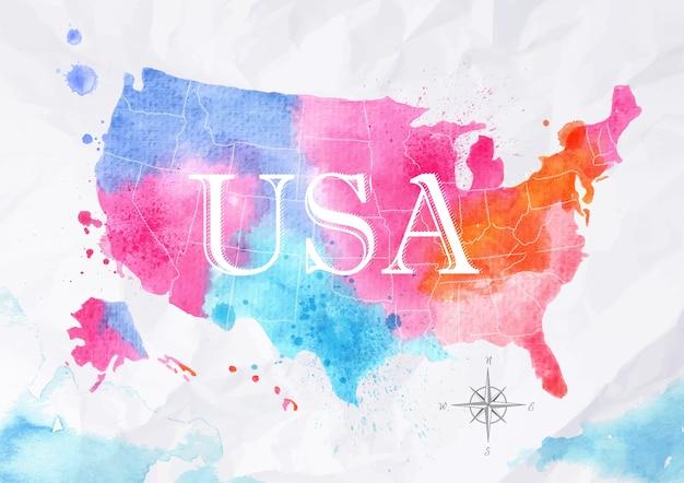 Akwarela mapę stanów zjednoczonych