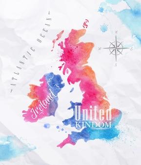 Akwarela mapę zjednoczonego królestwa i szkocji