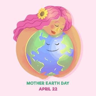 Akwarela matka dzień ziemi projekt