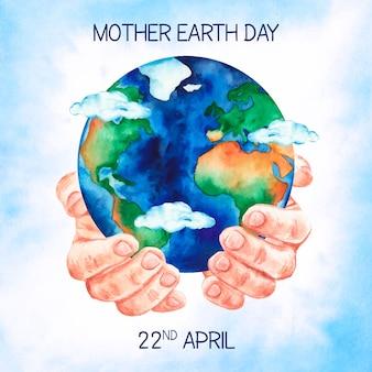 Akwarela matka dzień ziemi tło