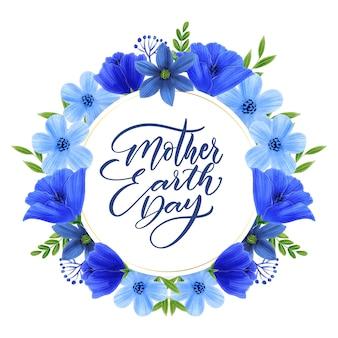Akwarela matka dzień ziemi z kwiatami
