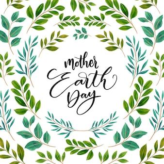 Akwarela matka dzień ziemi z liści