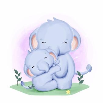 Akwarela matka i dziecko słoń