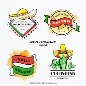 Akwarela meksykański logotypy żywności