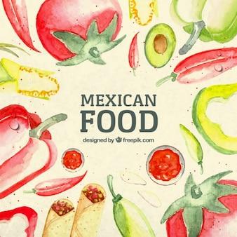 Akwarela meksykańskie jedzenie w tle
