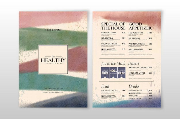Akwarela menu zdrowej żywności