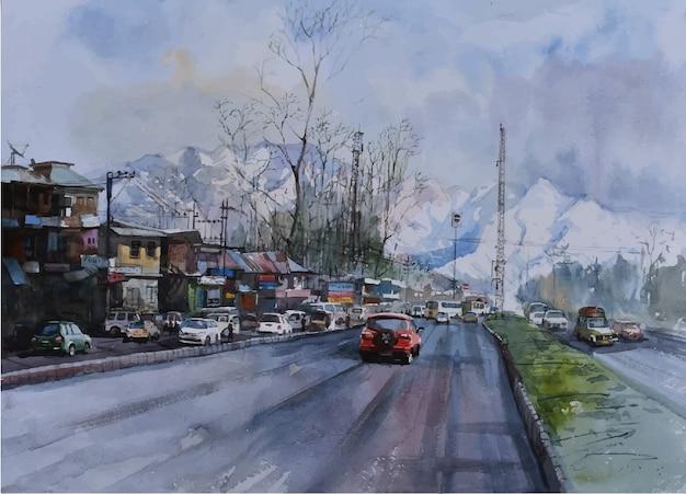 Akwarela miasto, ilustracja samochodu z autostrady