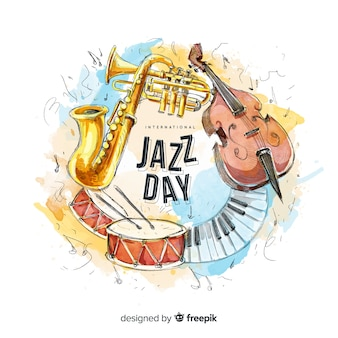 Akwarela międzynarodowego dnia jazzowy tło