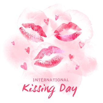 Akwarela międzynarodowy dzień całowania ilustracja