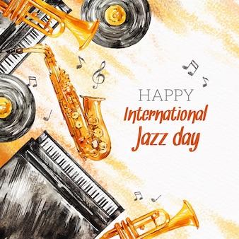 Akwarela międzynarodowy dzień jazzu ilustracja