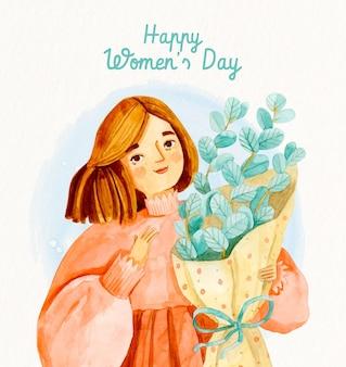 Akwarela międzynarodowy dzień kobiet