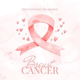 Akwarela międzynarodowy dzień na tle raka piersi