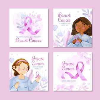 Akwarela międzynarodowy dzień przeciwko kolekcji postów na instagramie raka piersi