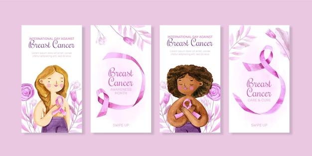 Akwarela międzynarodowy dzień przeciwko rakowi piersi kolekcja opowiadań na instagramie