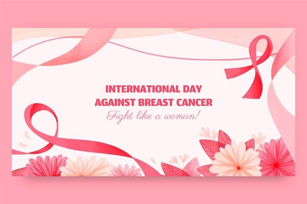 Akwarela międzynarodowy dzień przeciwko rakowi piersi szablon postu w mediach społecznościowych
