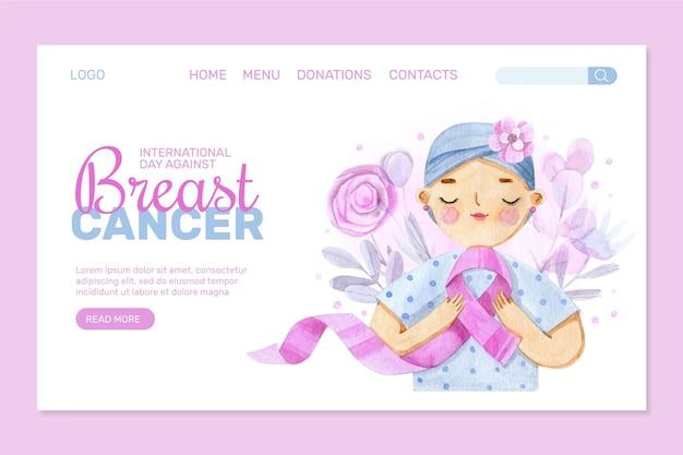 Akwarela międzynarodowy dzień przeciwko szablonowi strony docelowej raka piersi