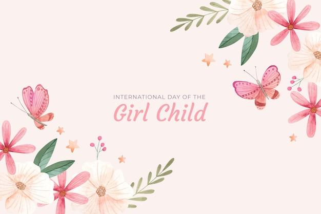 Akwarela międzynarodowy dzień tła dziecka dziewczyny