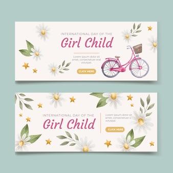Akwarela międzynarodowy dzień zestaw banerów dla dzieci dziewczynki