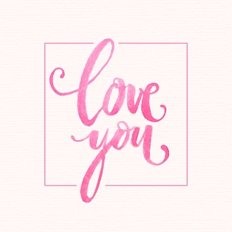 Akwarela miłość napis