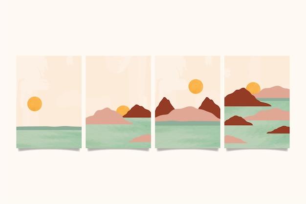 Akwarela minimalny krajobraz obejmuje