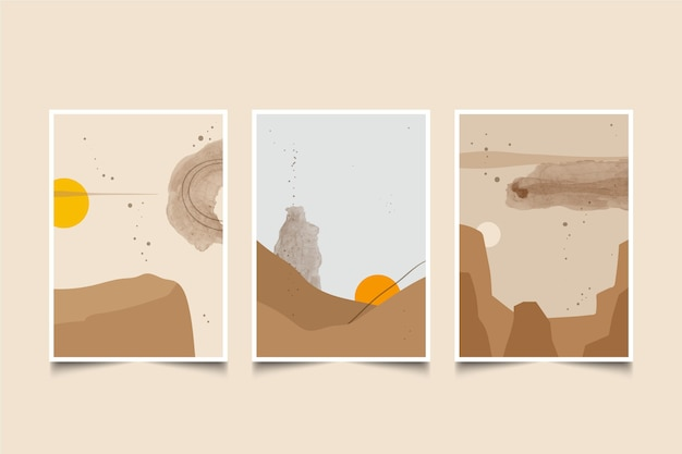 Akwarela minimalny pakiet okładek krajobrazowych