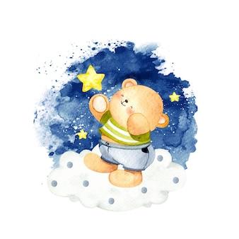 Akwarela miś z gwiazdami