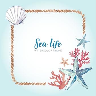 Akwarela morskich ramki