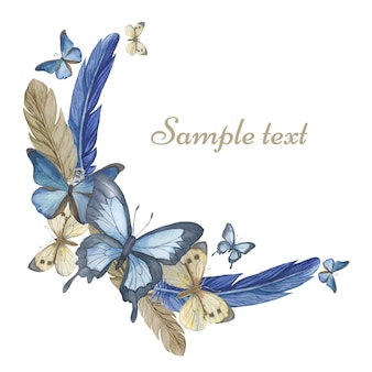 Akwarela motyle i pióra. okrągła rama, karta. ilustracja