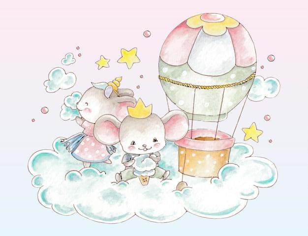Akwarela mysz na chmurze