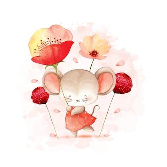 Akwarela mysz z kwiatem