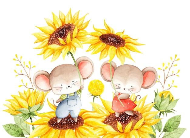 Akwarela mysz ze słonecznikiem