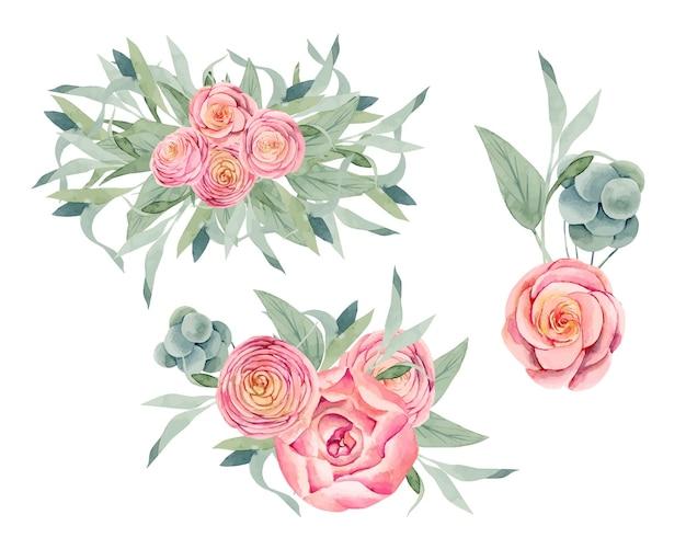 Akwarela na białym tle bukiety różowych piwonii i róż, zielonych liści i gałęzi