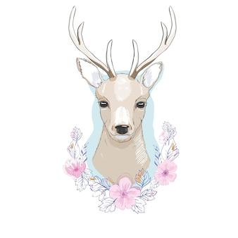 Akwarela na białym tle jelenia
