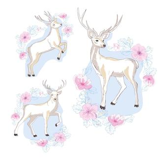 Akwarela na białym tle jelenie, duże rogi, kwiaty i ptaki na rogach