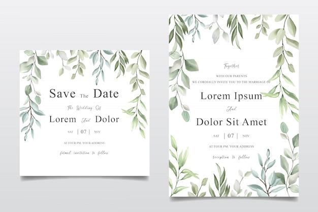 Akwarela na białym tle kwiatowy wesele zaproszenie szablon karty projektu