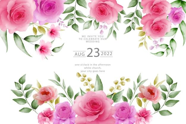 Akwarela na eleganckim tlepiękny kwiat wektor swobodny