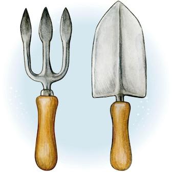 Akwarela narzędzia ogrodowe widelec i łopata