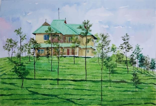 Akwarela natura i piękny dom na krajobraz z widokiem z góry