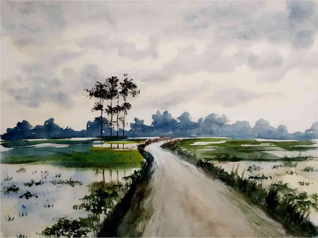 Akwarela natura krajobraz i ilustracja życie na wsi