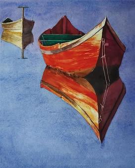 Akwarela natura krajobraz i ręcznie rysowane łódź na rzece ilustracja
