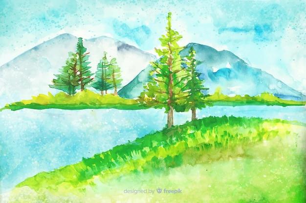 Akwarela naturalne tło z krajobrazem
