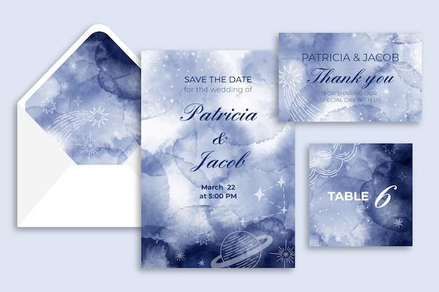 Akwarela niebiańska kolekcja papeterii ślubnej