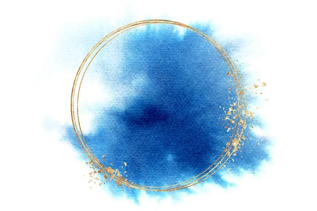 Akwarela niebieska plama z okrągłą ramką