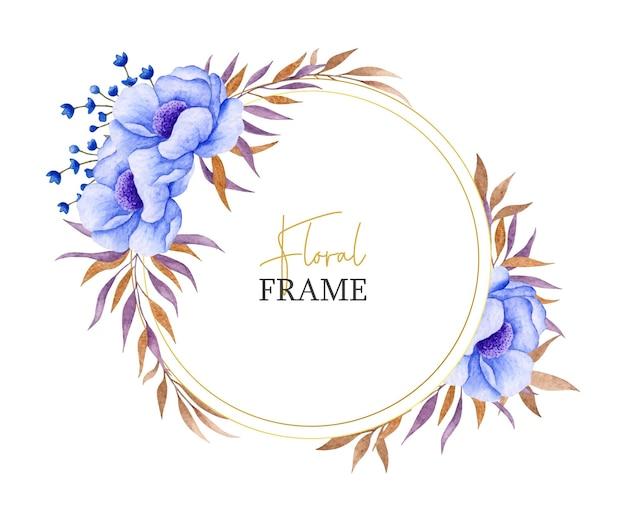 Akwarela niebieski kwiat i liście ramki