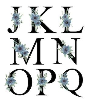 Akwarela niebieski kwiatowy ornament alfabet jq projekt premium wektor