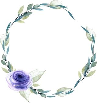 Akwarela niebieski róża i gałęzie wieniec